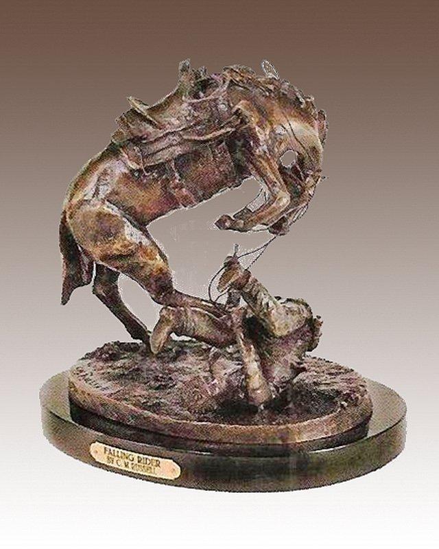 CM Russell-Fallen Rider-Bronze Sculpture