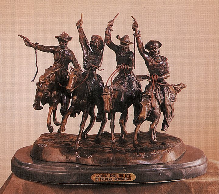 Frederic Remington-Bronze Sculpture-Coming Thru the Rye