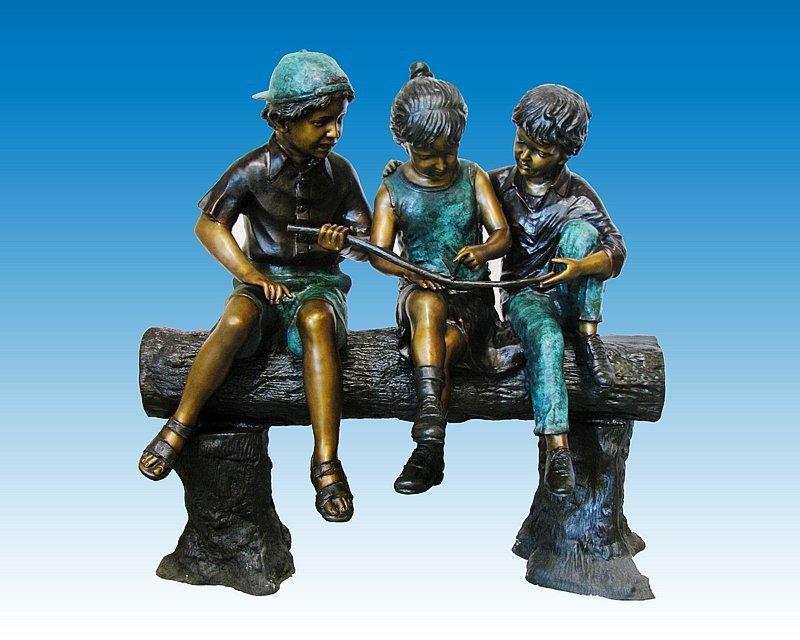 Three Kids on a Bench 4 Ft Bronze Sculpture Nardini