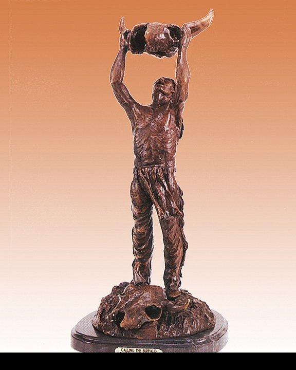 Frederic Remington Bronze Sculpture Calling the Buffalo