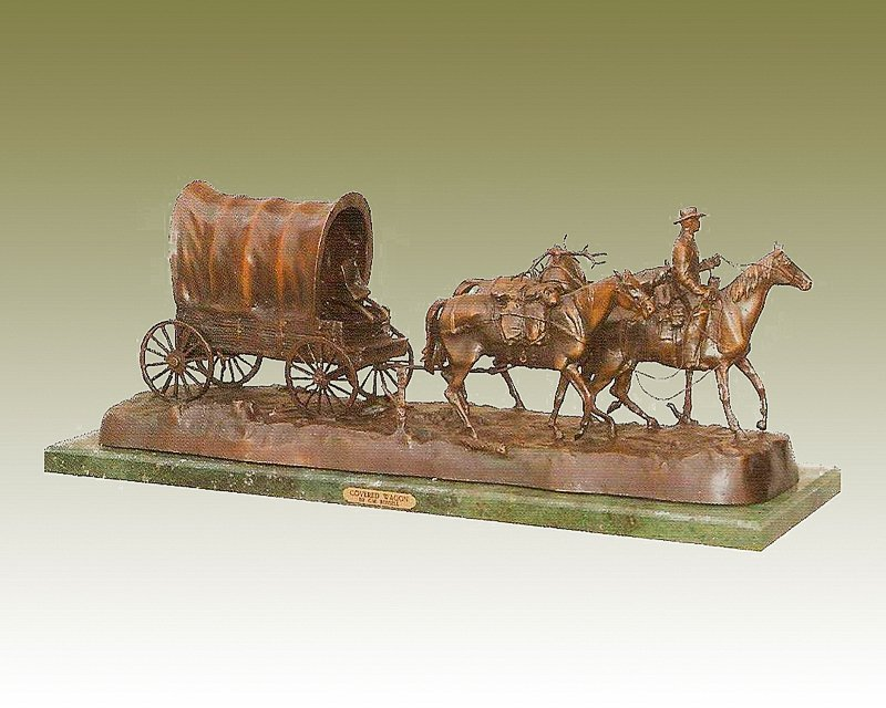 CM Russell-Covered Wagon-Bronze Sculpture