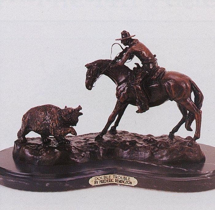 Frederic Remington-Bronze Sculpture-Double Trouble