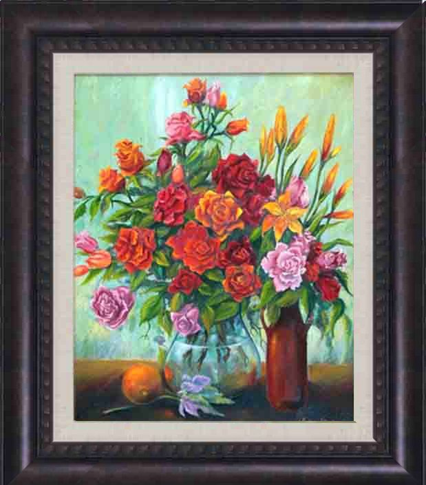 Arina-Original Oil-Roses with Orange and Bottle