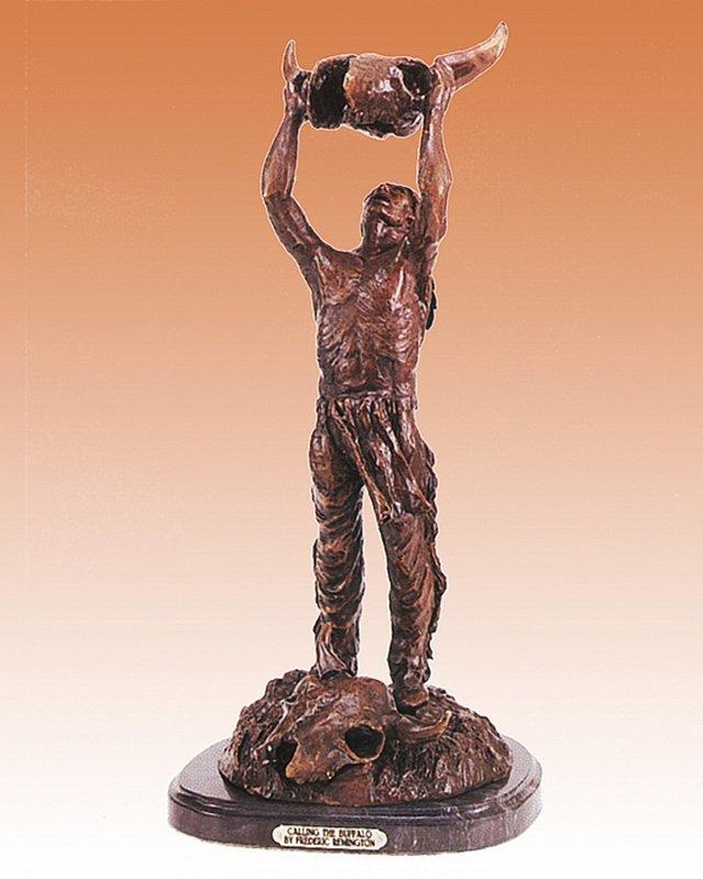 Frederic Remington Calling the Buffalo BronzeSculpture