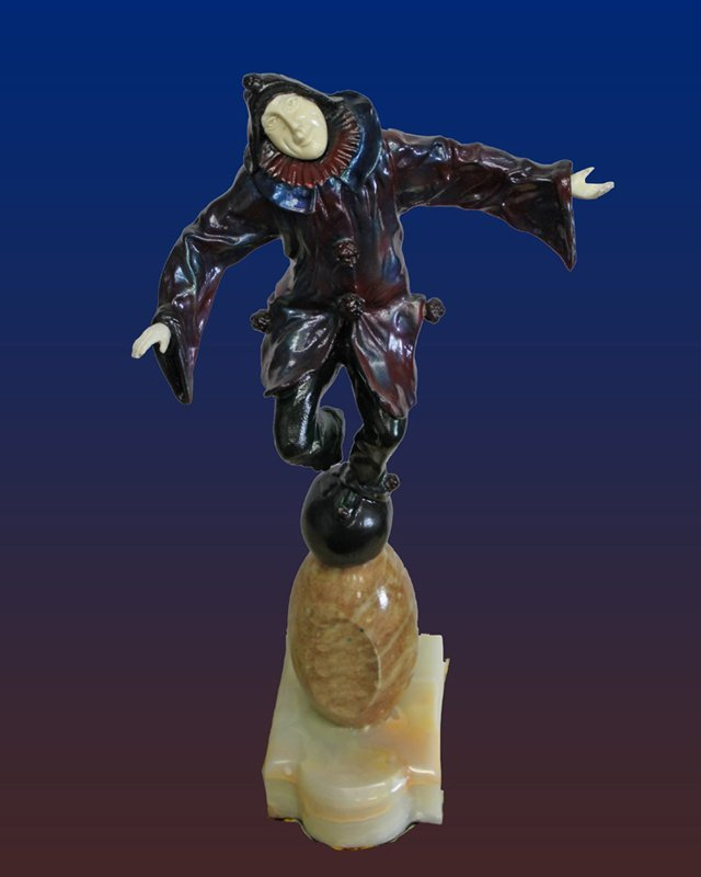 Clown on a Ball -Signed Chiparus Bronze and Sculpture