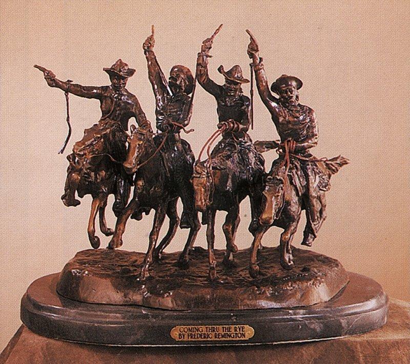 Frederic Remington Coming Thru the Rye Bronze Sculpture