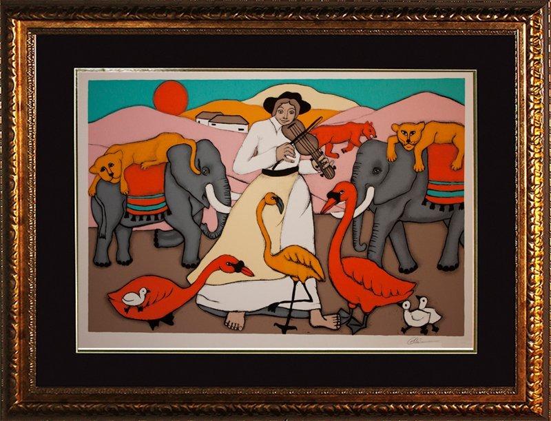 Elke Sommers Limited Ed Serigraph Elephant Girl