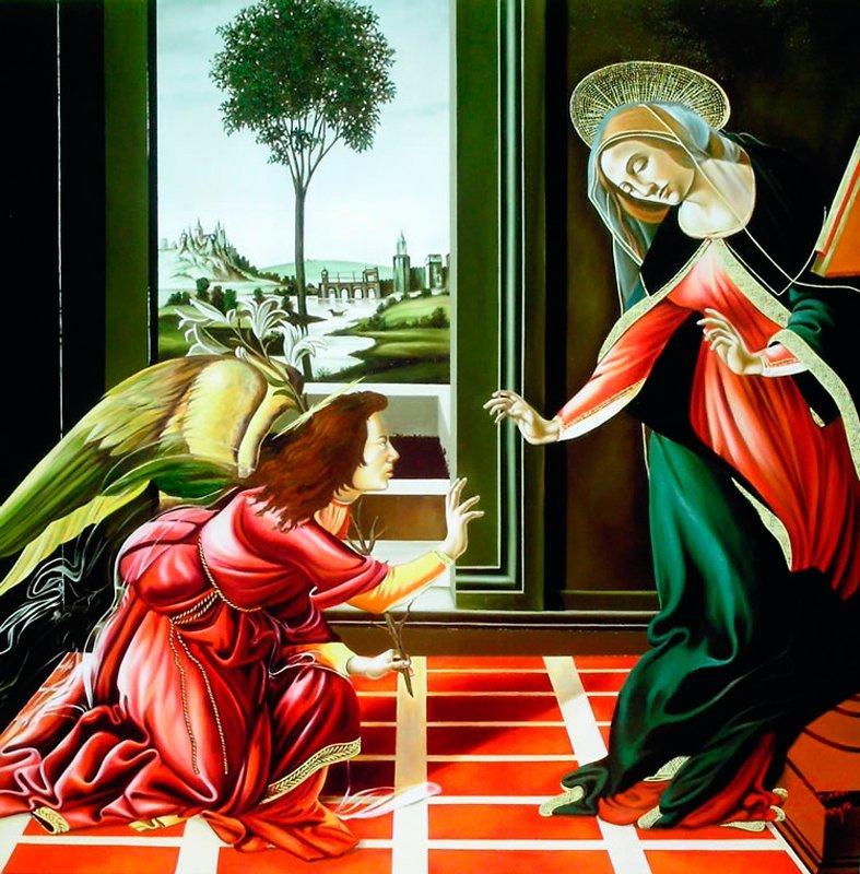 Hector Monroy Original Oil Annunciation of Angel