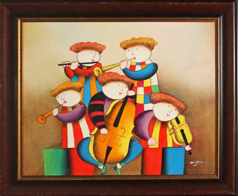 Boulanger Original Oil Painting The Musicians