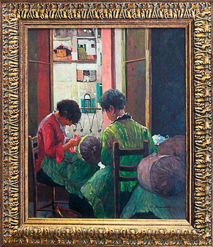 Bellini-Original Oil Painting-Girls Sewing