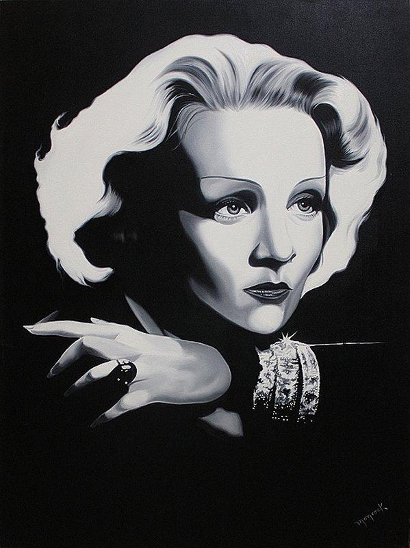 Hector Monroy-Original Oil-Marlene Deitrich