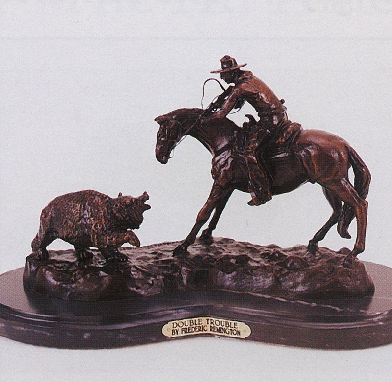 Frederic Remington Double Trouble Bronze Sculpture