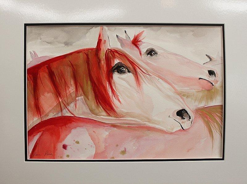 Reine River Red Mares Watercolor Original