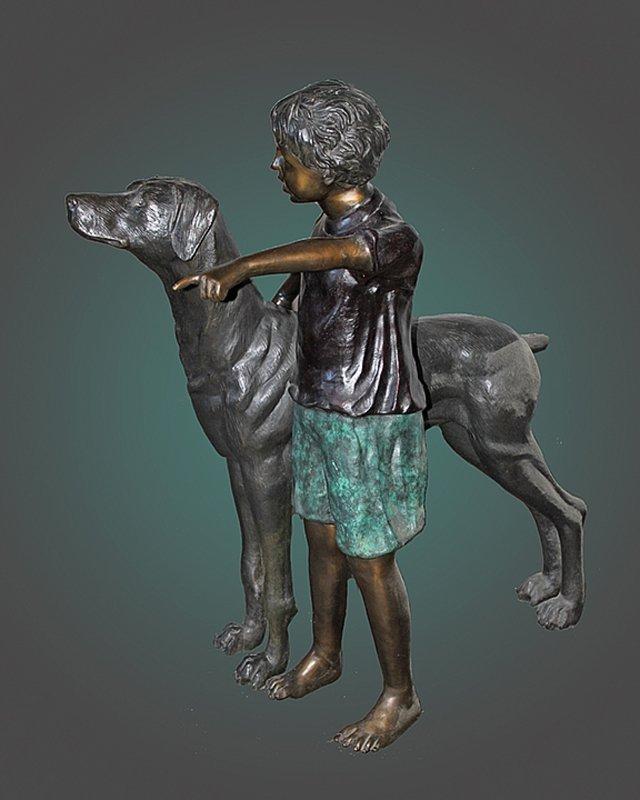 Boy and His Dog Bronze Sculpture Nardini
