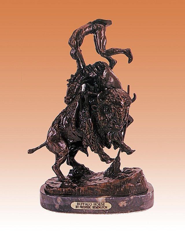 Frederic Remington Buffalo Horse Bronze Sculpture