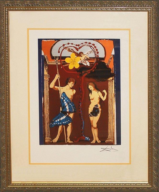 Salvador Dali-Women as Fantasy Adam and Eve Lithograph