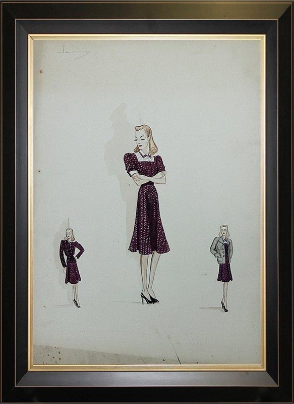 Original Fashion Illustration 1940s