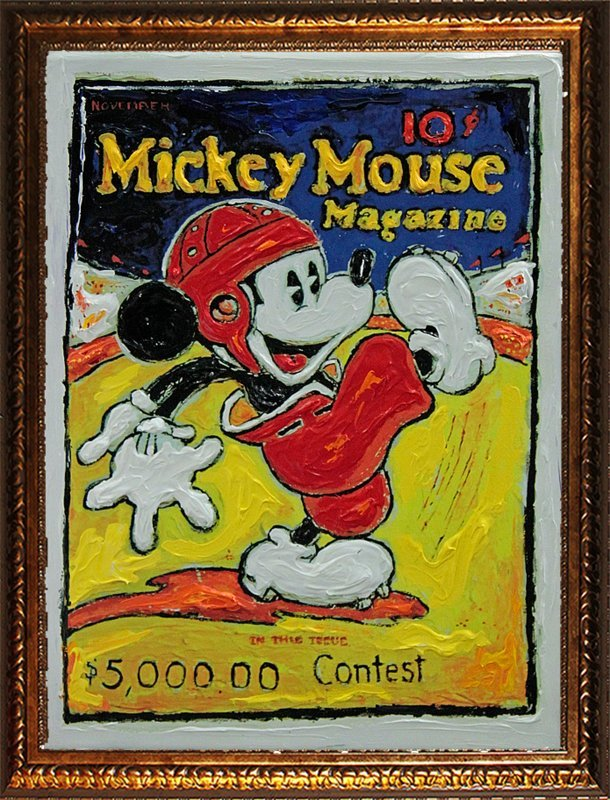 Original Oil on canvas  Mickey Mouse by Lew