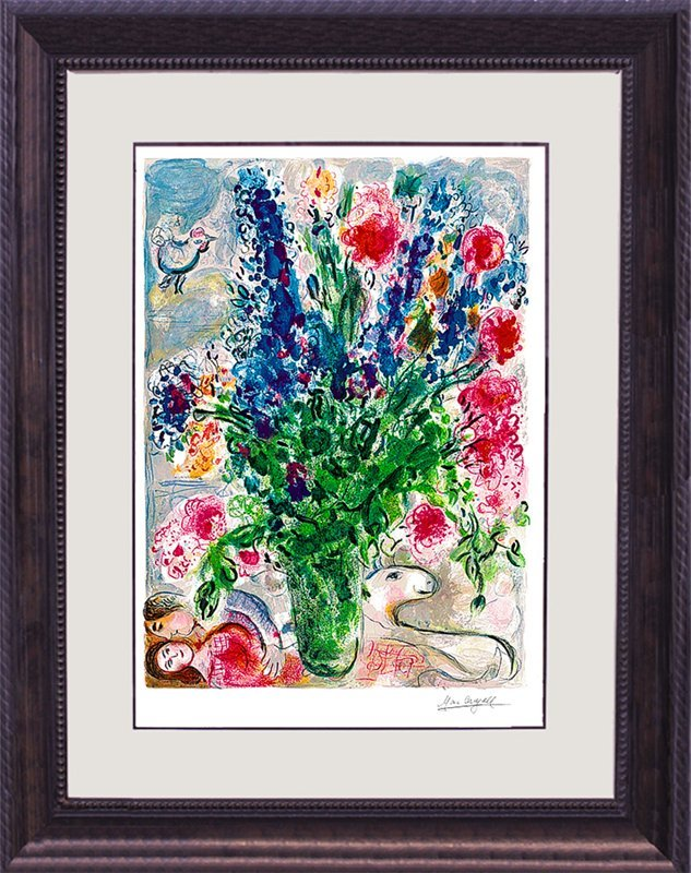 Marc Chagall Limited Edition Lithograph Les Lupins Bleu