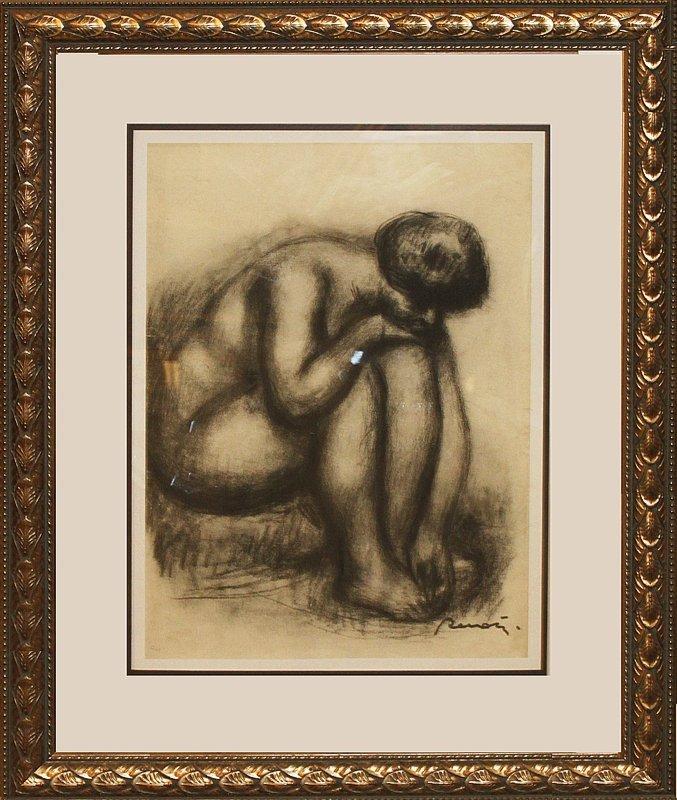 Pierre Renoir Sitting Nude Etching