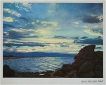 Great Salt Lake Lithograph 1955