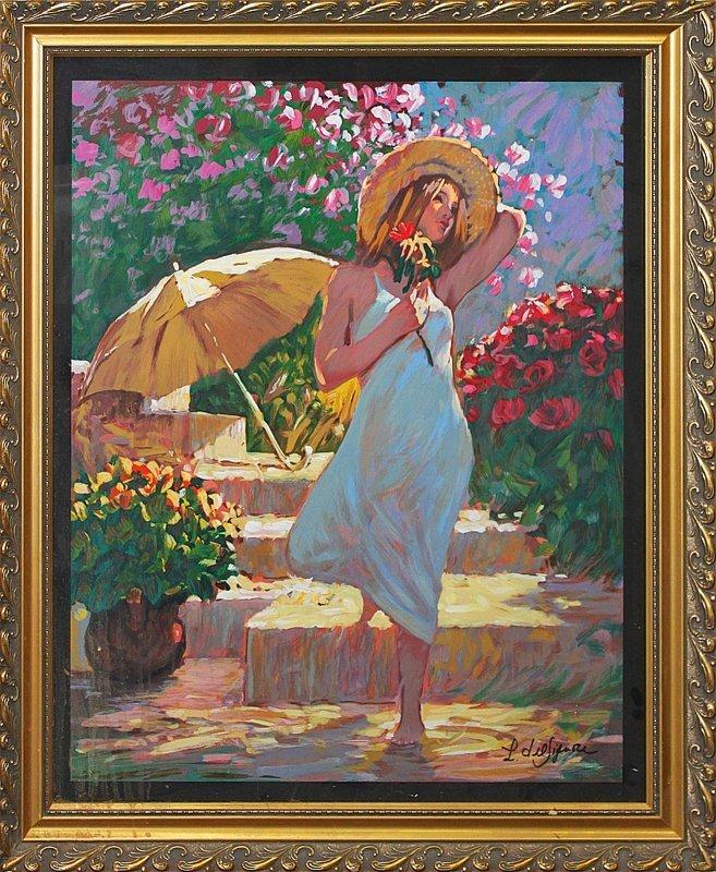 Lithograph Girl with a parasol by DeFigueroa