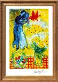 Marc Chagall Limited Edition Lithograph  Lovers and