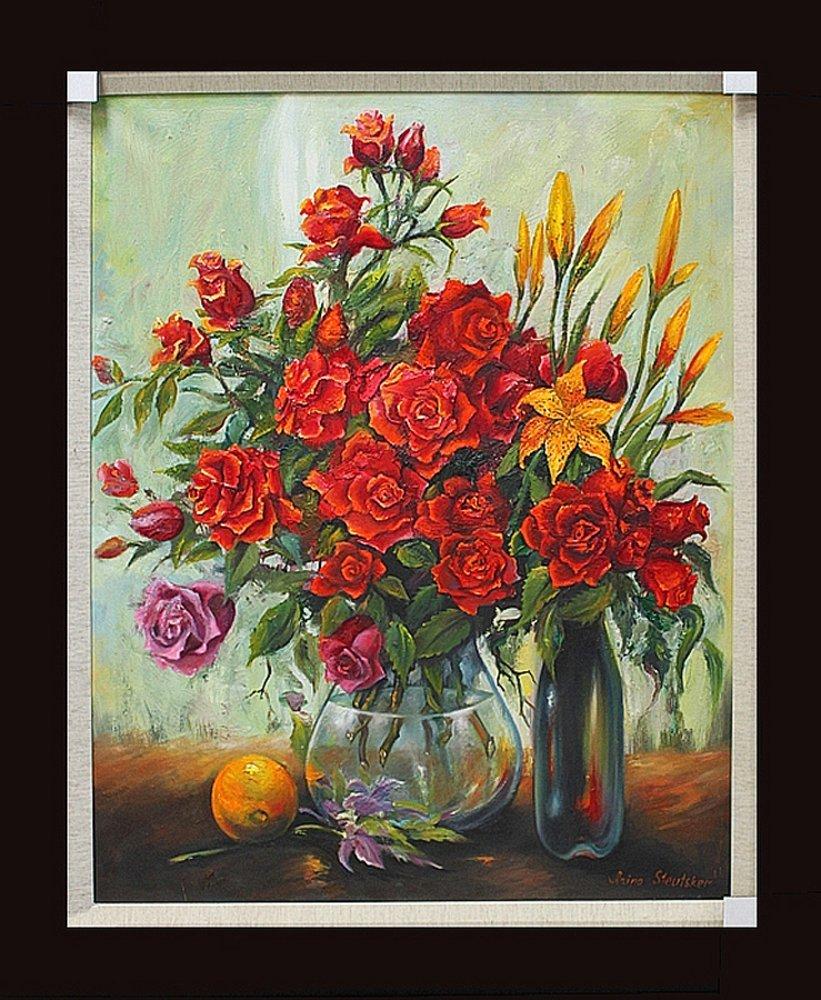 Arina-Original Oil-Roses with Orange and Bottle