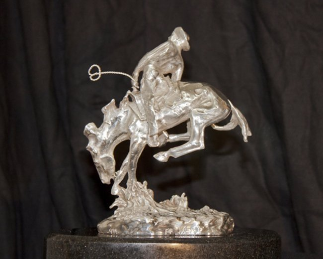 .999 Silver Rattlesnake Sculpture Frederic Remington