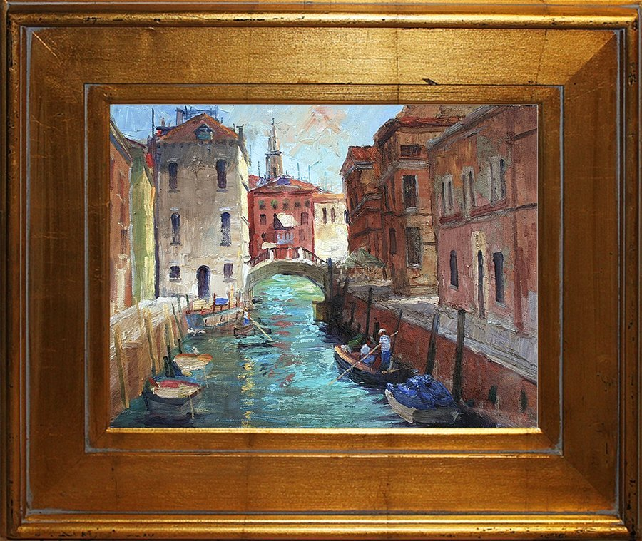 Original Oil Rafael Venice Canal En Plein Air