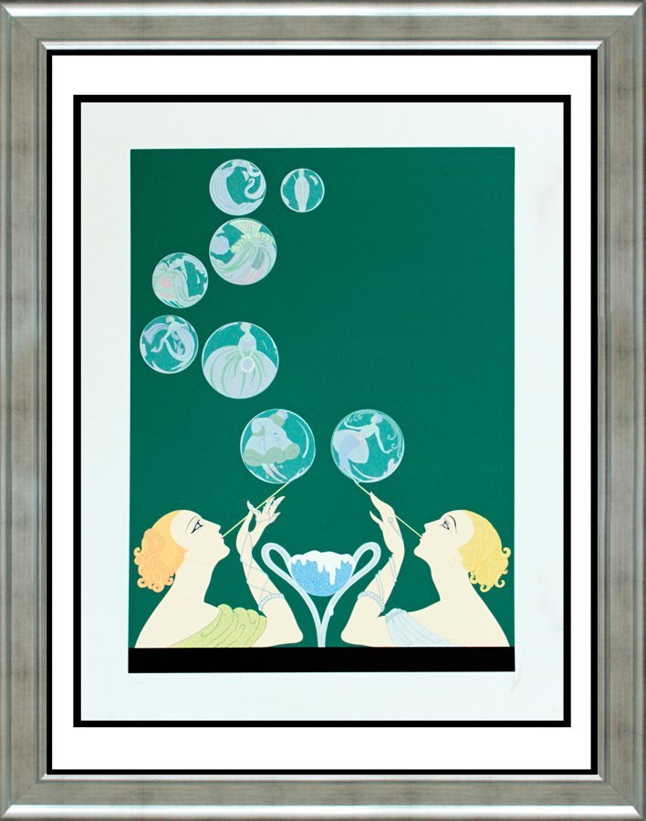 Bubbles 1981 Erte Limited Edition Serigraph Hand Signed