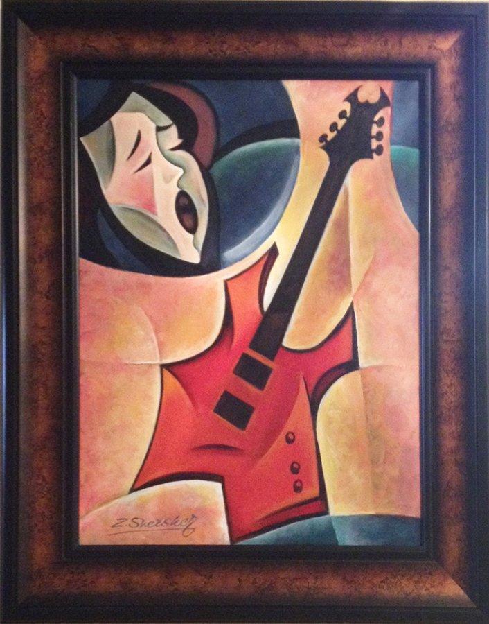 Zinovy Shersher Rock Guitar Original Oil