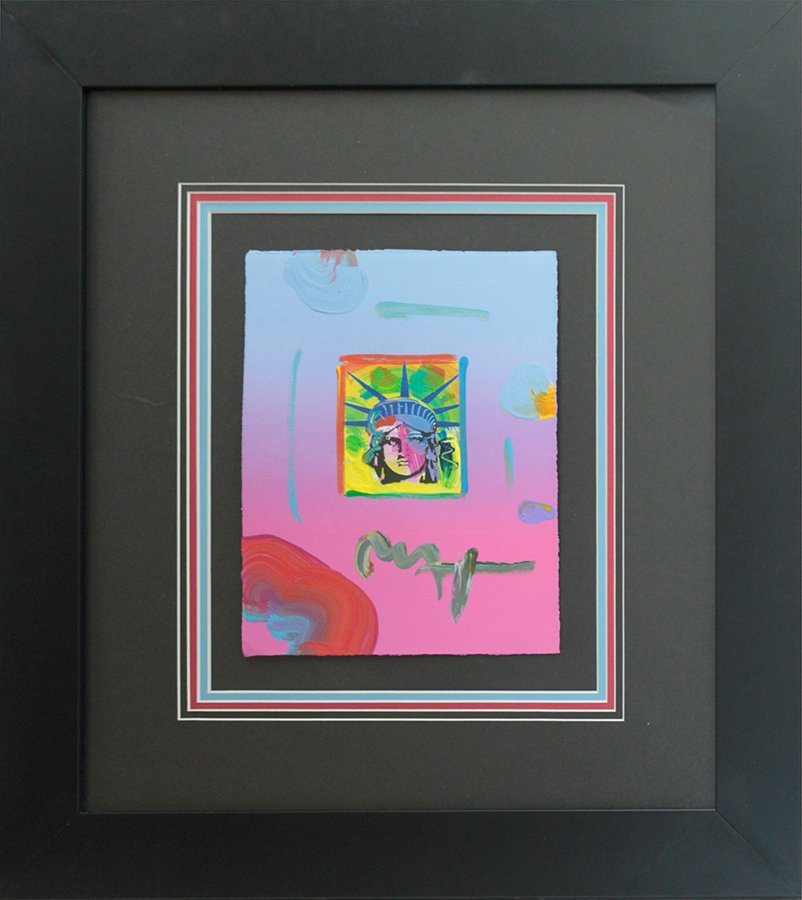 Peter Max Hand Signed Original Mixed Media