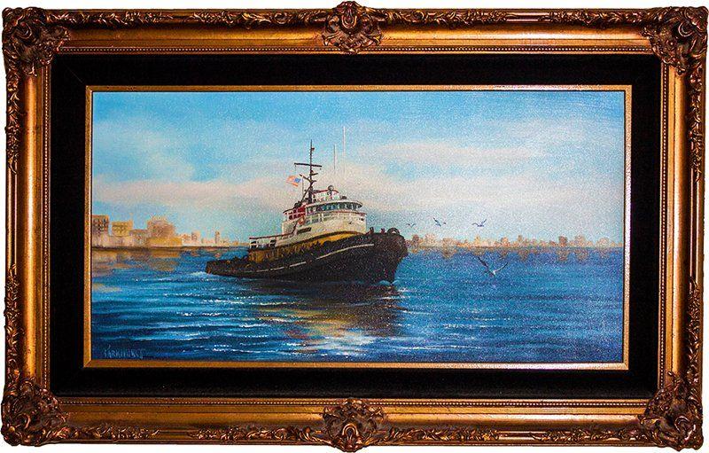 Original Oil canvas by Violet Parkhurst Ocean Liner