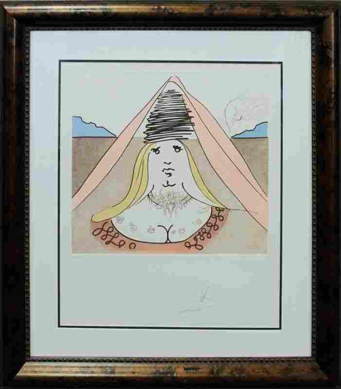 Original Lithograph Salvador Dali Lady Dulcinea Hand