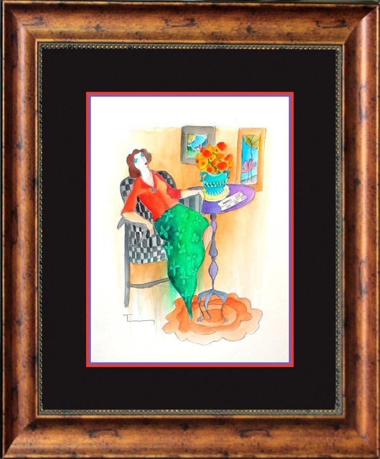 Tarkay Original Hand Signed Watercolor
