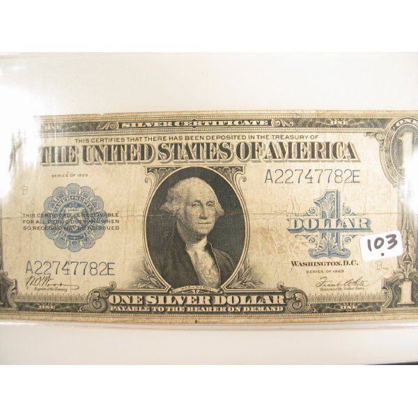 1017: 1923 $1 Silver Certificate Large Size Note