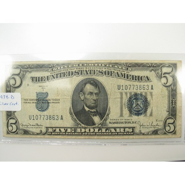 1018: 1934 $5 Silver Certificate Small Size Note