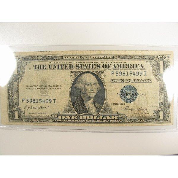 1022: 1935 E $1 Silver Certificate Small Size Note