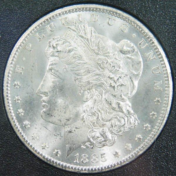 1070: 1885-CC Morgan Dollar in NGC MS 63 GSA Holder