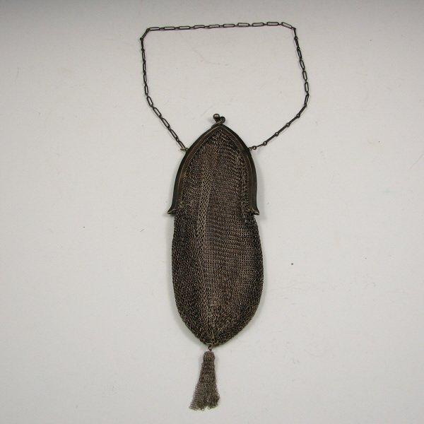 8: Antique German Silver Mesh Handbag w/ Tassel
