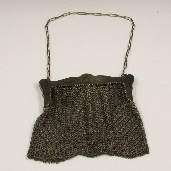 10: Antique German Silver Mesh Handbag w/ Flowers