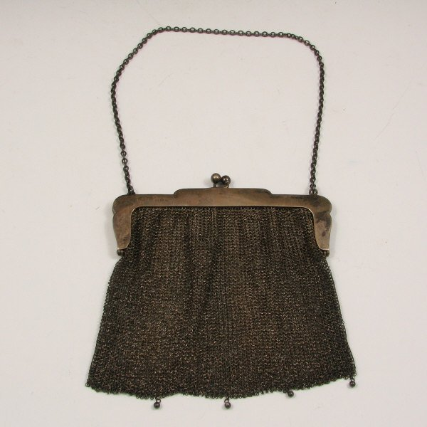 12: Antique Silver Beaded Mesh Handbag