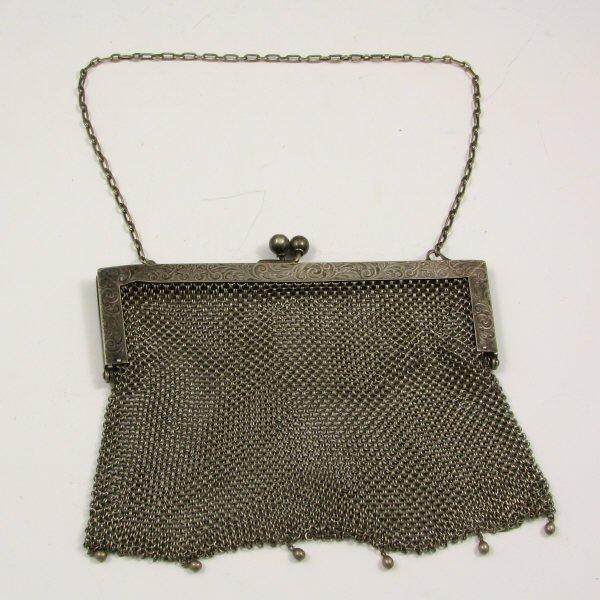 14: Antique German Silver Mesh Handbag w/ Etched Frame