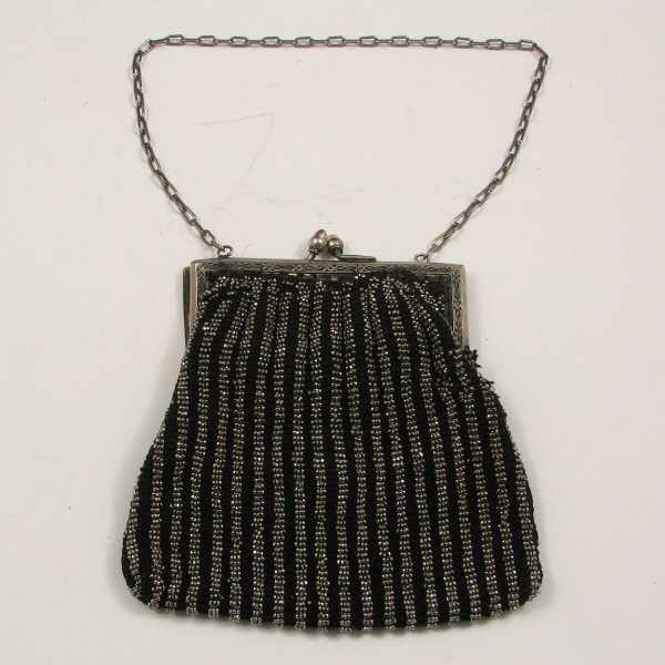 17: Antique German Silver Beaded Handbag
