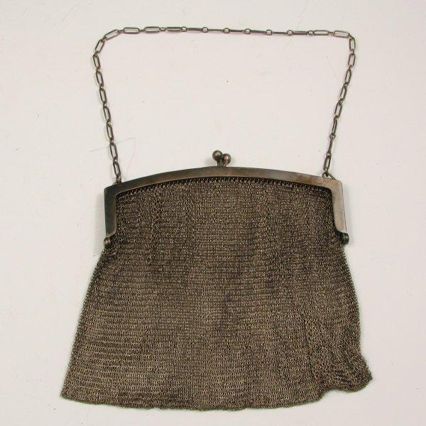18: Antique Sterling Silver Mesh Handbag