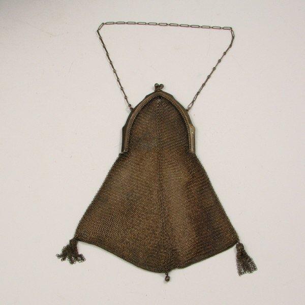 20: Antique German Silver Mesh Handbag w/ Tassels