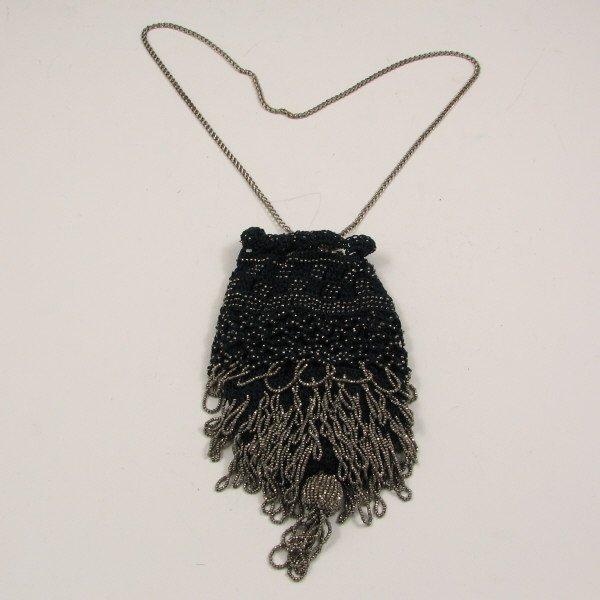 21: Drawstring Beaded Handbag - Excellent