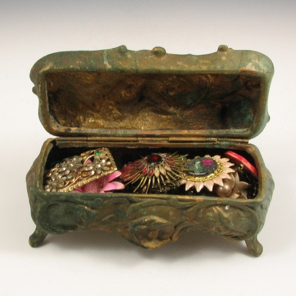 23: Antique Brass Jewelry Chest with 15 Brooches