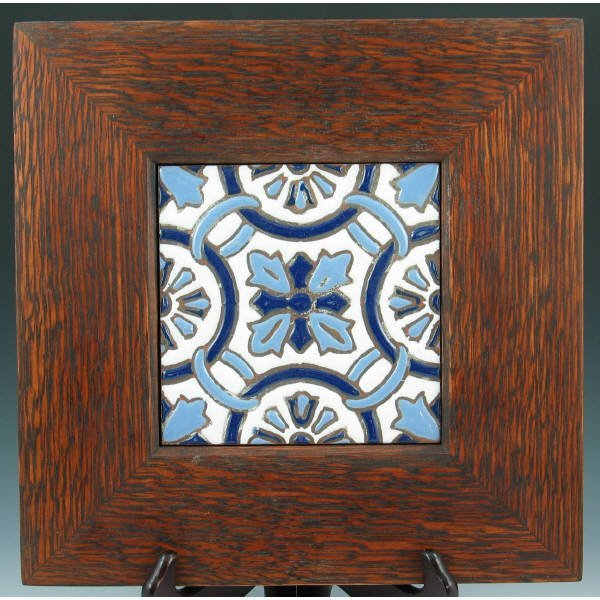 "501: Art Nouveau 5 7/8"" Tile in Mission Oak Frame"
